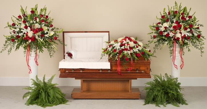 Red and white tradition funeral flowers delivered in baton rouge la red and white tradition mixes mightylinksfo